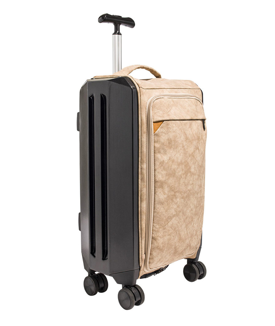 the foldable suitcase with a beige olena paris compartment made in Europe