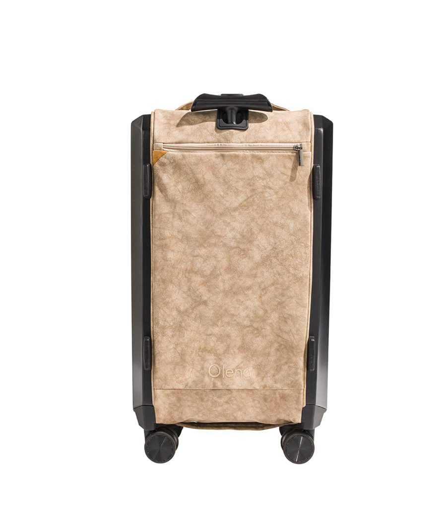the olena paris beige folding suitcase from the back