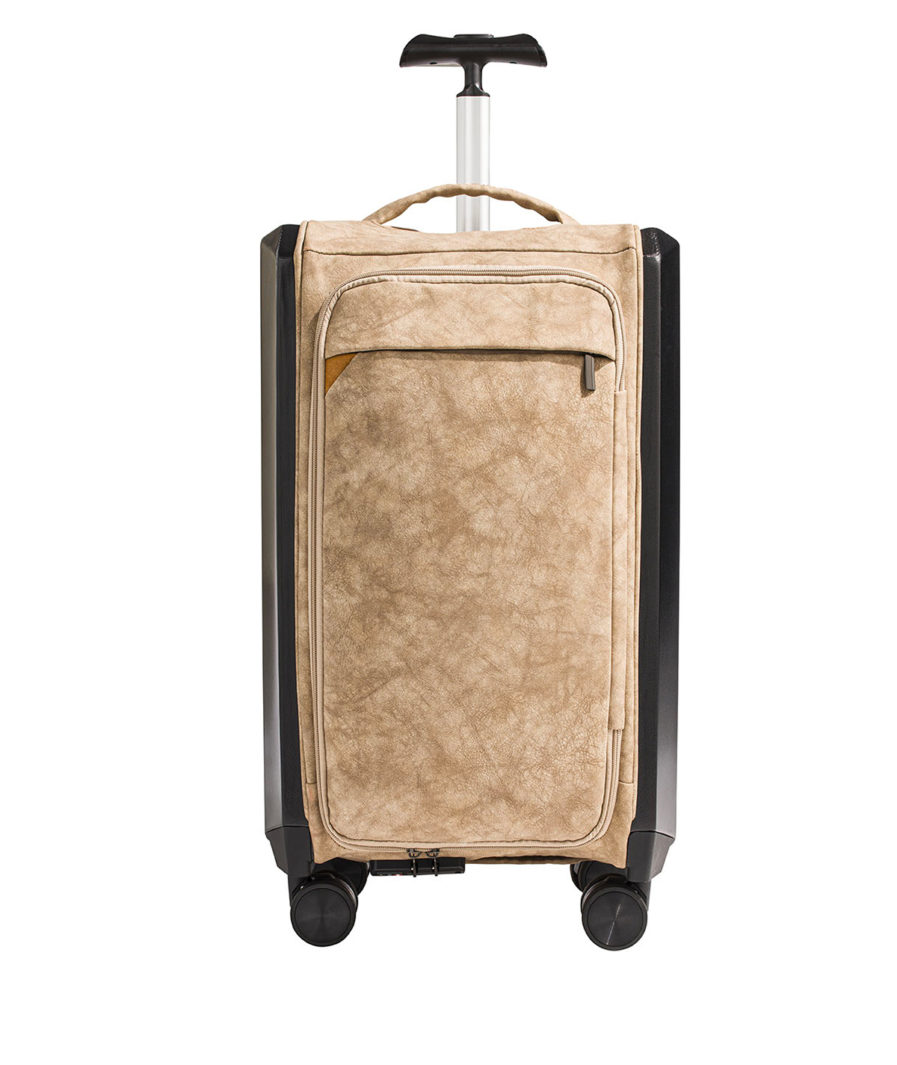 the olena paris foldable luggage made in Europe beige front with its pouch